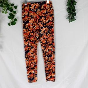 4/$25 Lularoe Floral Leggings orange and blue OS